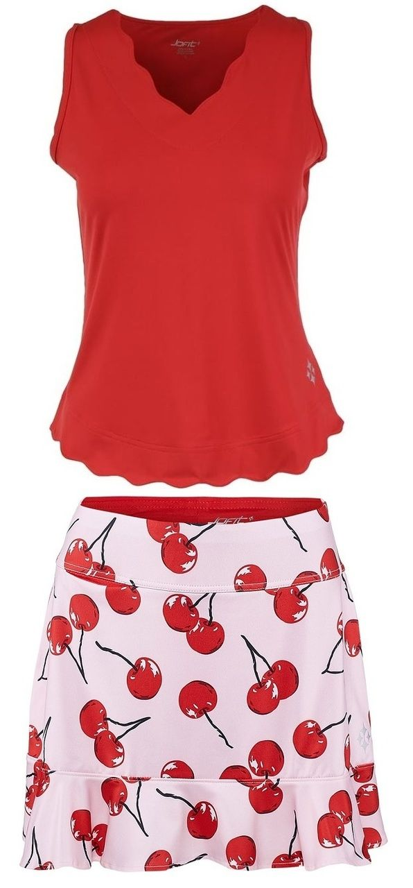 Check out what Nicole's Tennis Boutique has to offer for on and off the court! JoFit Ladies & Plus Size Tennis Outfits (Tanks & Skorts) - Barossa (Lipstick/Cherry Print)