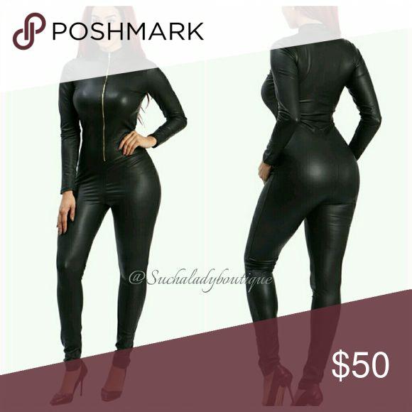 Faux leather Jumper Faux leather turtleneck cat woman jumper Pants Jumpsuits & Rompers