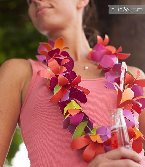 Pretty DIY Paper Flower Lei by http://www.ellinee.com/blog. Fun idea for a destination wedding!