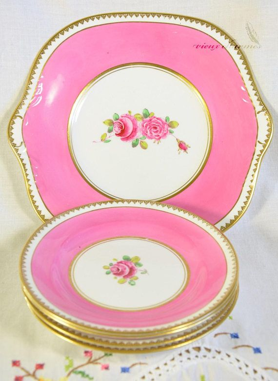 Pink Royal Stafford cake plate with serving plates hand