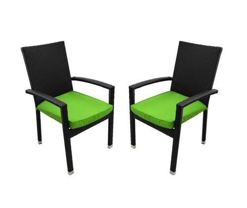 Set Of 2 Black Resin Wicker Outdoor Patio Furniture Dining Chairs   Lime  Green Cushions Part 95