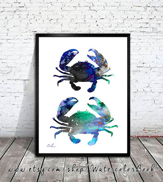 Blue Crab Watercolor Print, crab art, watercolor painting, watercolor art, Illustration, home decor wall art, crab art, watercolor animal,  Buy