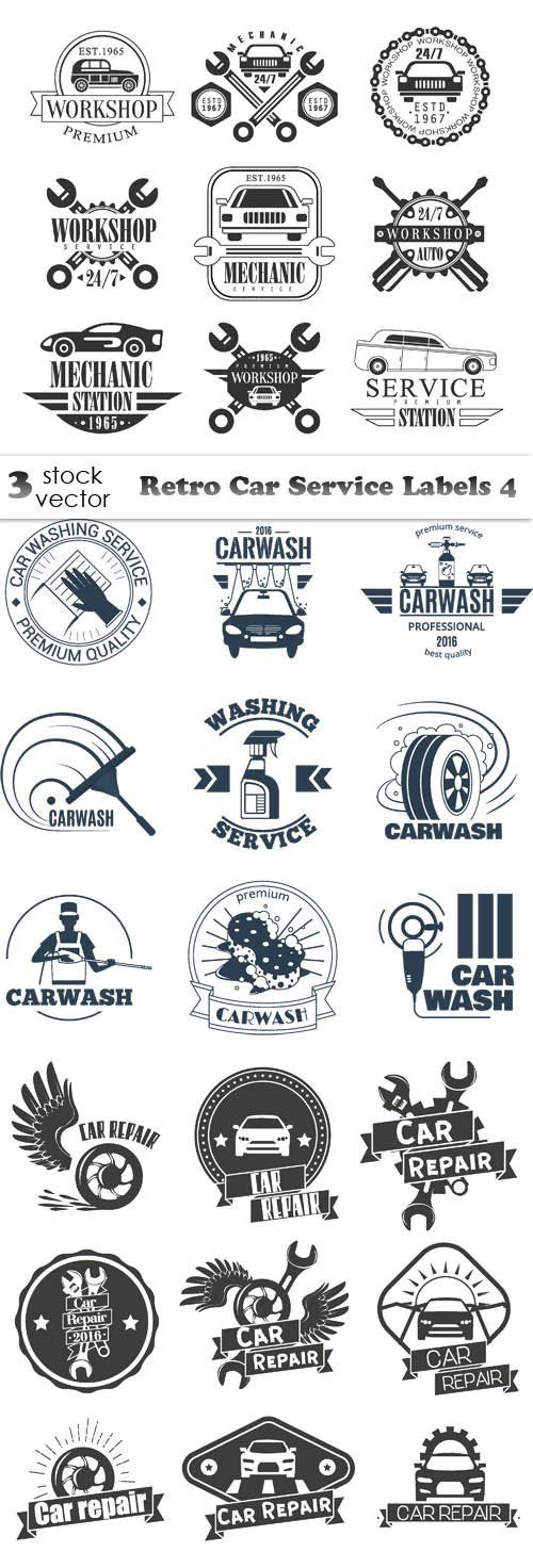 Vectors - Retro Car Service Labels 4