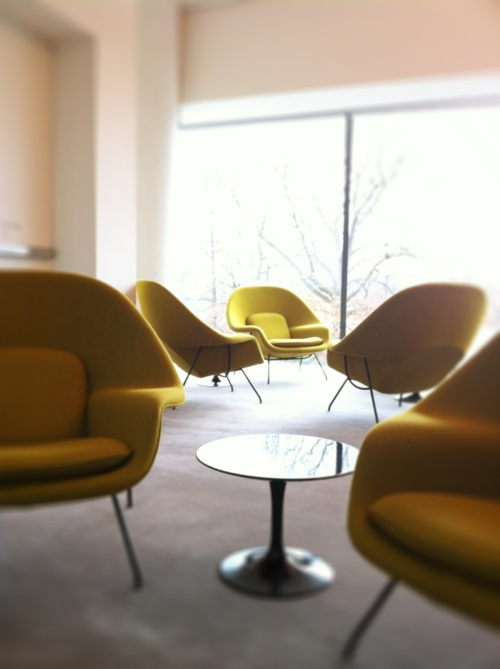 eero saarinen womb chairs - good color for a redo of my knoll pfister club chairs