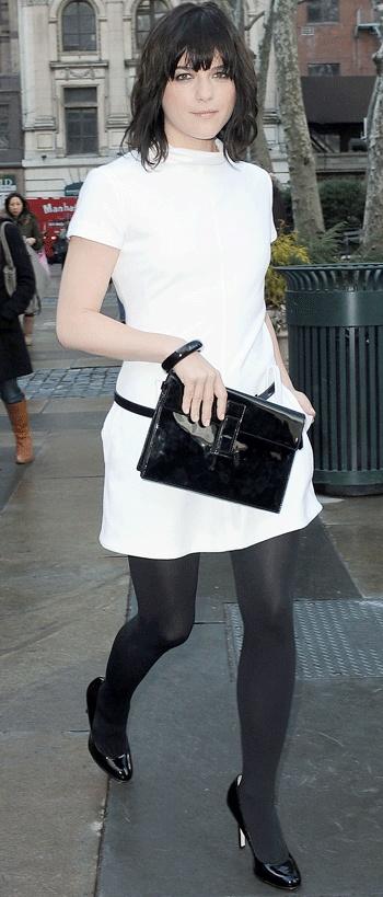 Selma Blair patent leather... Good combo