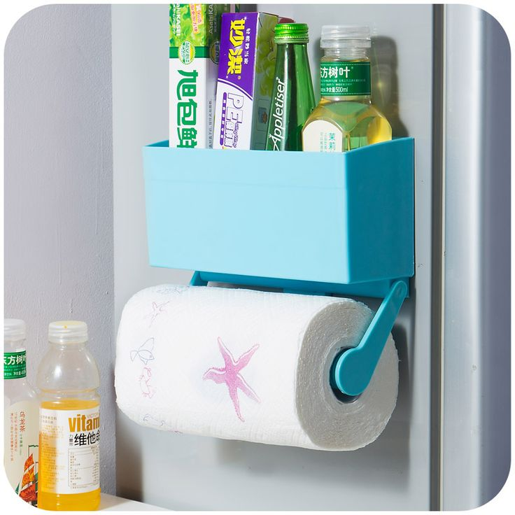 Free shipping Kitchen strong magnetic fridge Shelves, multi-function cling film tissue paper storage rack, microwave rack K3141