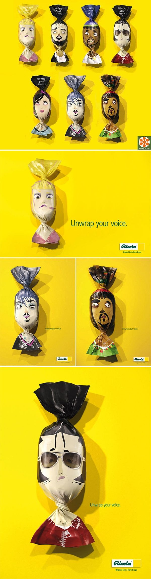 """Ricola's """"Unwrap Your Voice"""" Packaging, Ad Campaign and Full Credits http://www.geniuzz.com/c/graficos-diseno/?trackid=130"""