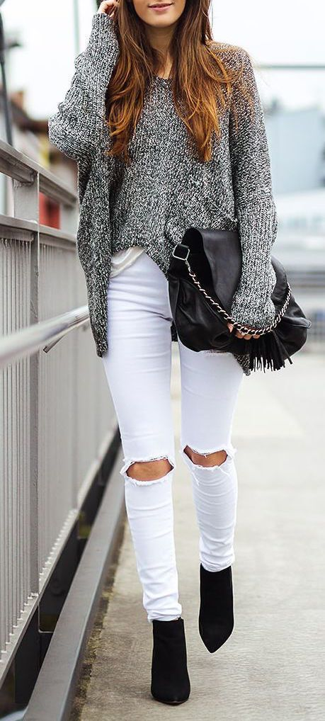 Only $29.99! Sexy Casual Gray Stripe Knitted Long Sleeve Sweater Oversized Top Search more at chicnico.com♥