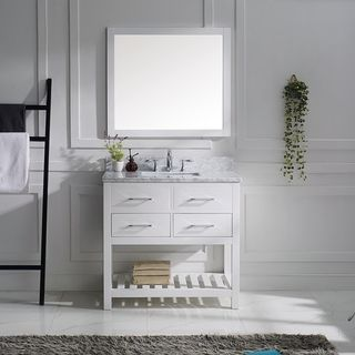 Virtu USA 'Caroline Estate' 36-inch Carrera White Marble Single Sink Bathroom Vanity | Overstock.com