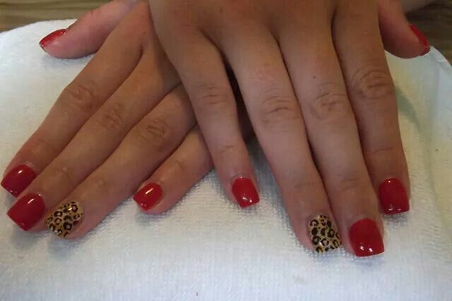 LCN #gelnails #animalprint #red #gold #chettah #stamping #LCNproductsonly