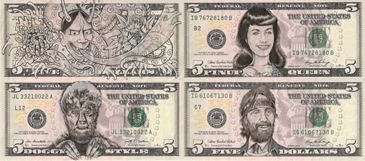 James Charles Clockwise from top left: Noh Mask, Pinup Queen, Hits from the Bong, and Doggy Style Ink Drawings on United States Bank Notes