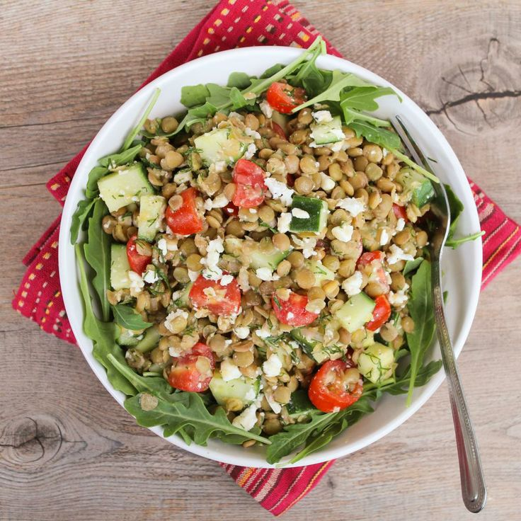 Lemony Lentil Salad with Dill & Feta (use raw cashew cheese or other ...