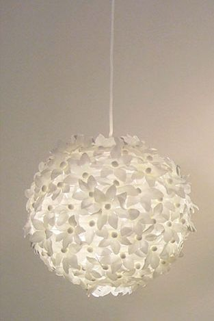 DIY lantern: This could easily be done with a package of white flowers from Joanne's wedding department.  There were 300 in the package....I'm thinking it would cover a small white lantern with a little glue gun, then some rhinestones for the center of the flowers!  Bling!