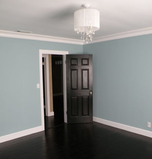 dark floors dark doors white trim blue walls dream