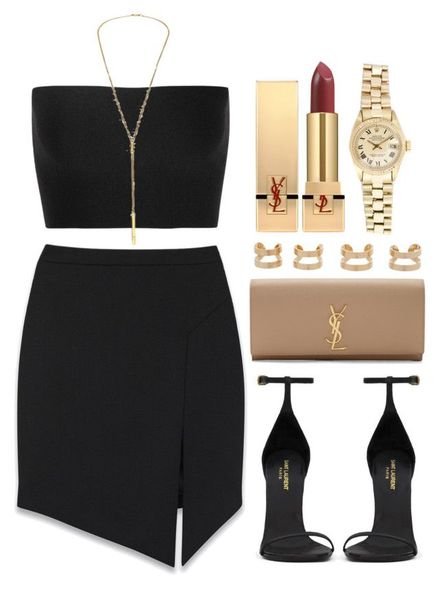 """Style #8925"" by vany-alvarado ❤ liked on Polyvore featuring Yves Saint Laurent, Calvin Klein Collection, Jennifer Zeuner, Maison Margiela and Rolex"