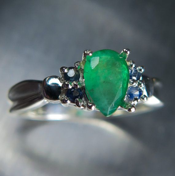 0.75cts Natural Zambian Emerald & sapphires Sterling 925 Silver engagement ring all sizes