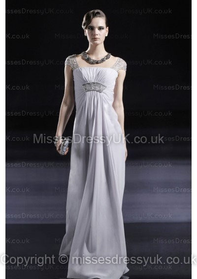 Sheath/Column Square Chiffon Floor-length Silver Beading Evening Dress