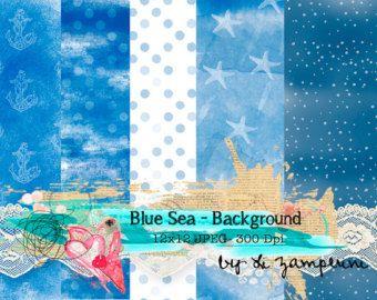 Blue Sea Digital Paper JPEG Set 5 - Decoupage Paper - Scrapbook Paper - Vintage Background 12x12 each