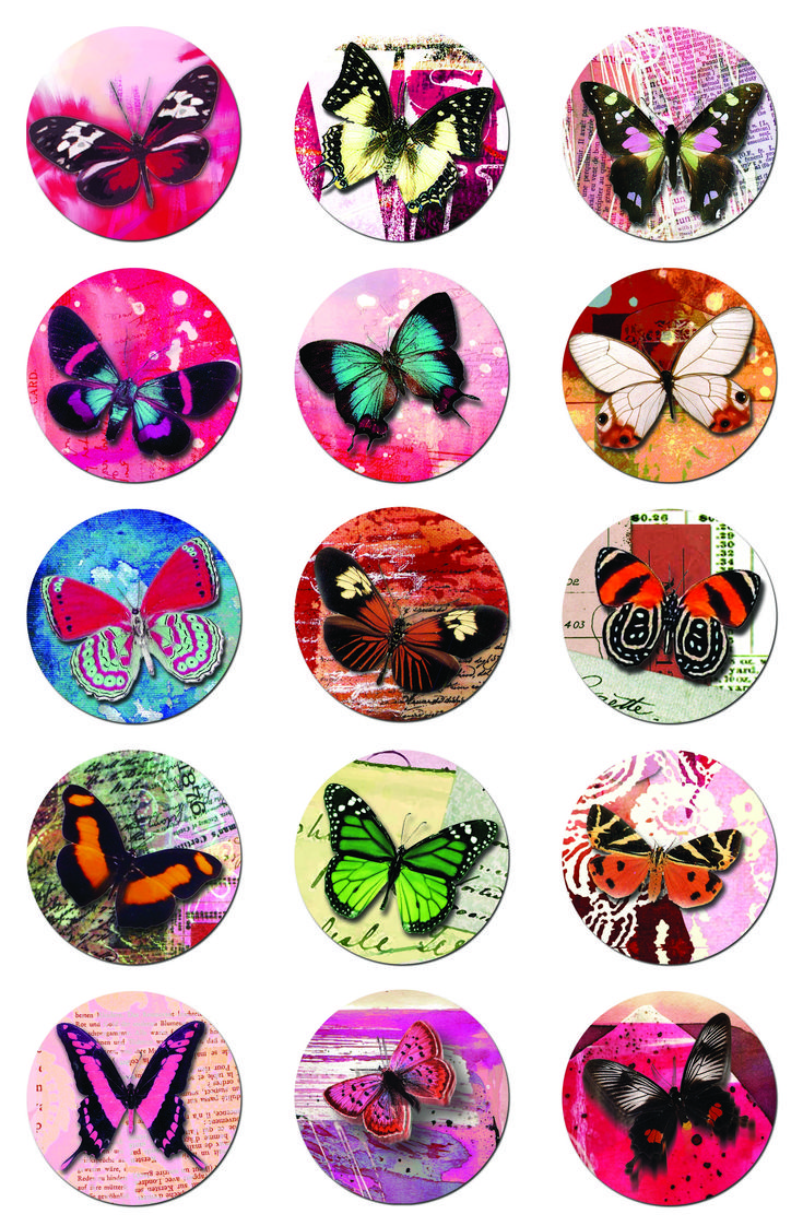 Click to download the 2 inch circle butterfly collage sheet -- free