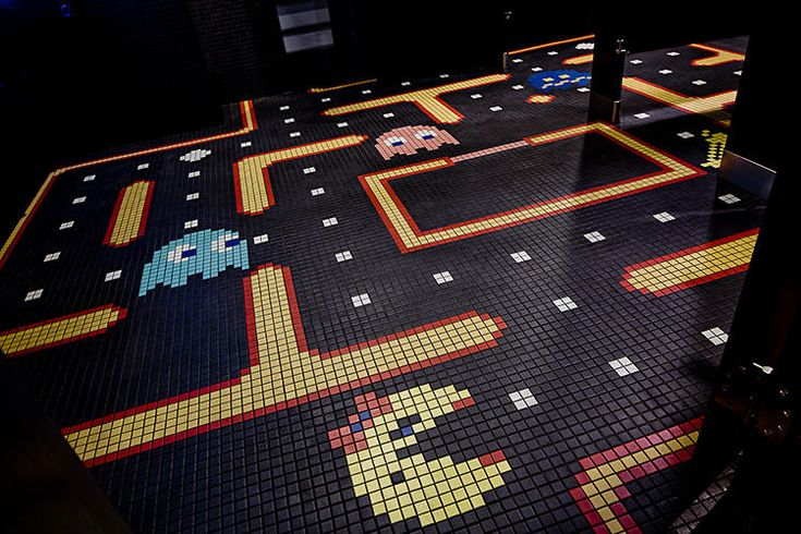 Ground Kontrol - Public Bathroom Floor in video game arcade bar in Portland, Oregon - Pacman Video game inspired Decor