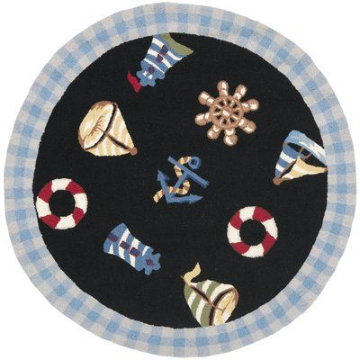 Breakwater Bay Eldridge Black / Blue Marina Novelty Area Rug Rug Size: Round 5'6""