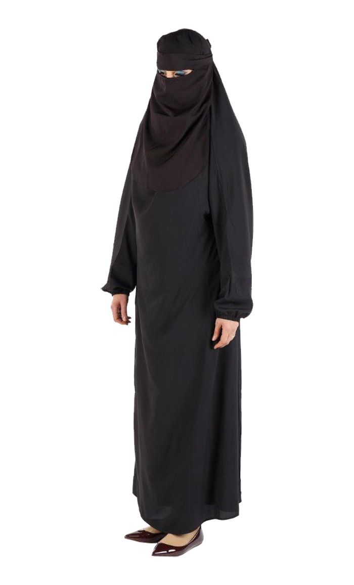 This Niqab abaya is great for Umrah, prayer and everyday wear! 3 piece set includes: Niqab, Burgha and Lining. Fabric: Poly Crepe Very light weight and comfortable!