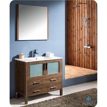 "Fresca Torino 36"" Walnut Brown Modern Bathroom Vanity with Integrated Sink $1149"