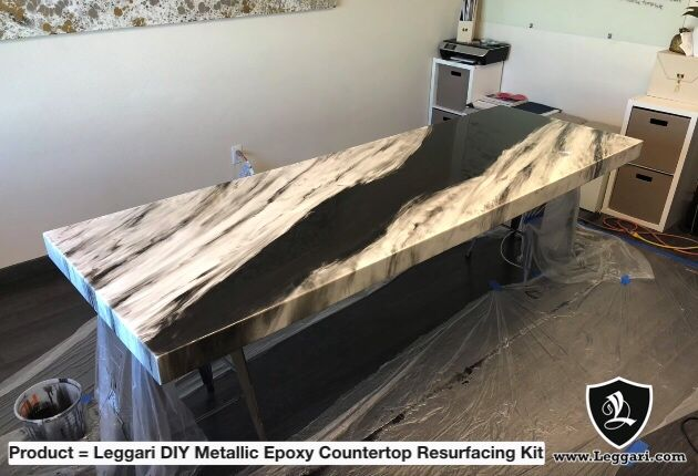 I Love This Silver Metalic Epoxy Resin Countertop I Want To Do