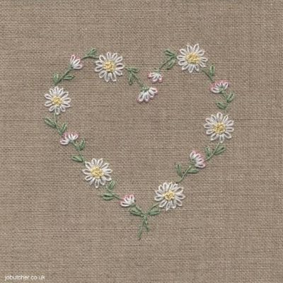 Daisy Chain Heart hand embroidery by Jo Butcher