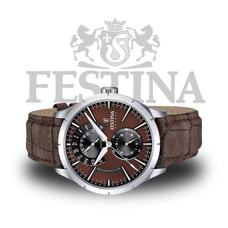 #Festina Herren-Analoguhr F16573/6 – braune #Herrenuhr mit Kroko-Lederarmband und #Retro-Design