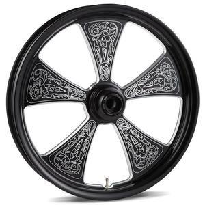Image of Arlen Ness Engraved Wheel - Rear - Black - 17 Inch x 625 Inch - Harley Davidson FXST FLSTF 2007 - 032-03057