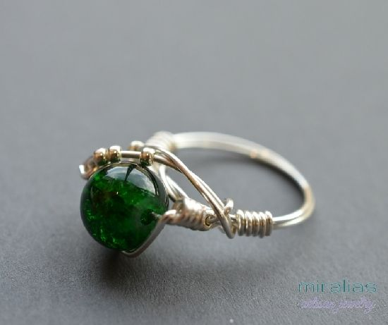 silver plated wire wrapped ring with green glass bead