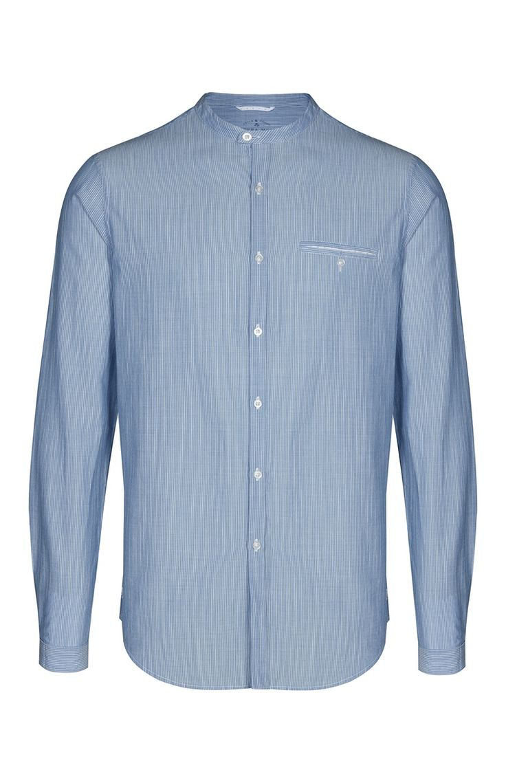 Blue Textured Banded Collar Shirt