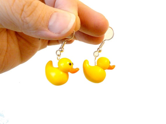 Duck earrings polymer clay animal jewelry yellow by NellinShoppi, €15.00