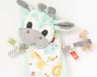 Giraffe Mini Lovey Neutral Baby Blanket Organic Wooden Teether
