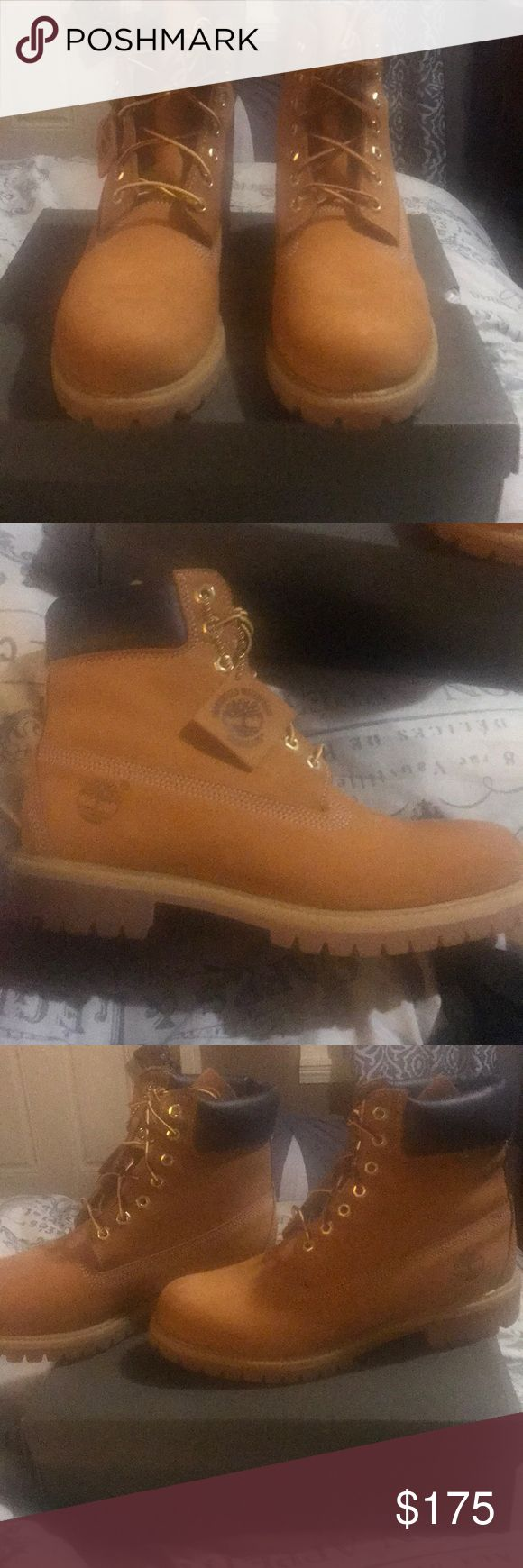 Wheat Timberland Boots Wheat Timbs Men Size 10. Worn once. BF asked for a pair for Christmas(Forgot he already had a pair)! Timberland Shoes Combat & Moto Boots