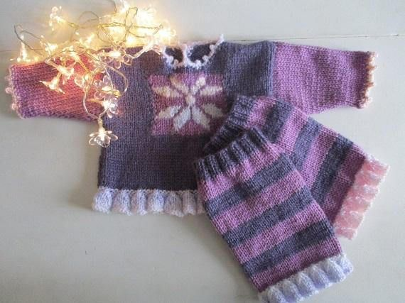 Winter Snowflake top Striped leg warmers  knitted baby girl