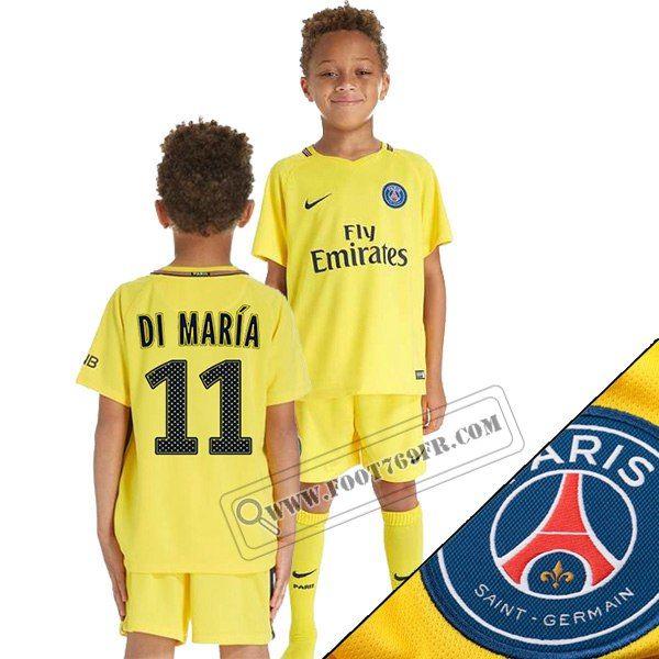 Grossiste: Top Qualité (Di Maria 11) Maillot De Paris ST Germain Enfant Exterieur Jaune 2017/2018 Thailande Nouveau Achat
