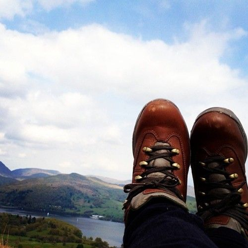 Relaxing at the top of Latterbarrow, overlooking Windermere, Lake District