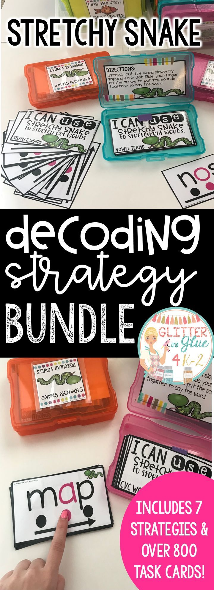 This decoding strategy bundle is a great way to start off your guided reading time or you can use the cards as an extra intervention! Strategies included are: stretchy snake, lips the fish, tryin' lion, eagle eye, skippy frog, chunky monkey, and flippy dolphin. Keywords: decoding, guided reading, kindergarten, first grade, special education, sped teacher, reading, decode, RTI, word work, task boxes, reading instruction, phonics, reading intervention, task cards