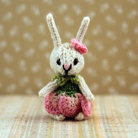 Bunny Rose knitted bunny mini bunny dollhouse miniature