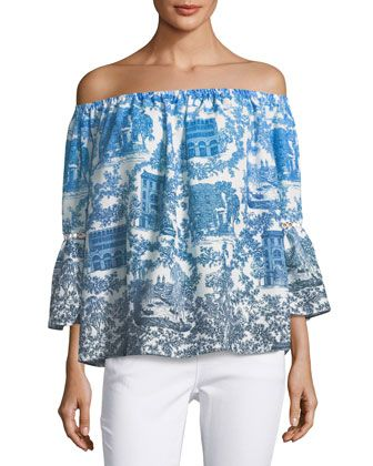 Mina+Printed+Chiffon+Off-Shoulder+Top+by+Catherine+Malandrino+at+Neiman+Marcus+Last+Call.