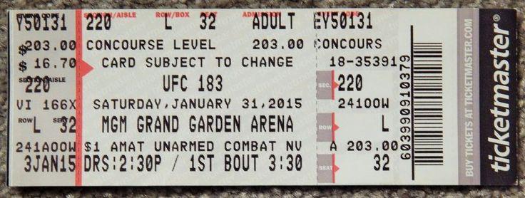 UFC ULTIMATE FIGHTING UFC 183  ORIGINAL USED TICKET MGM LAS VEGAS, JAN 31 2015 #UFC183