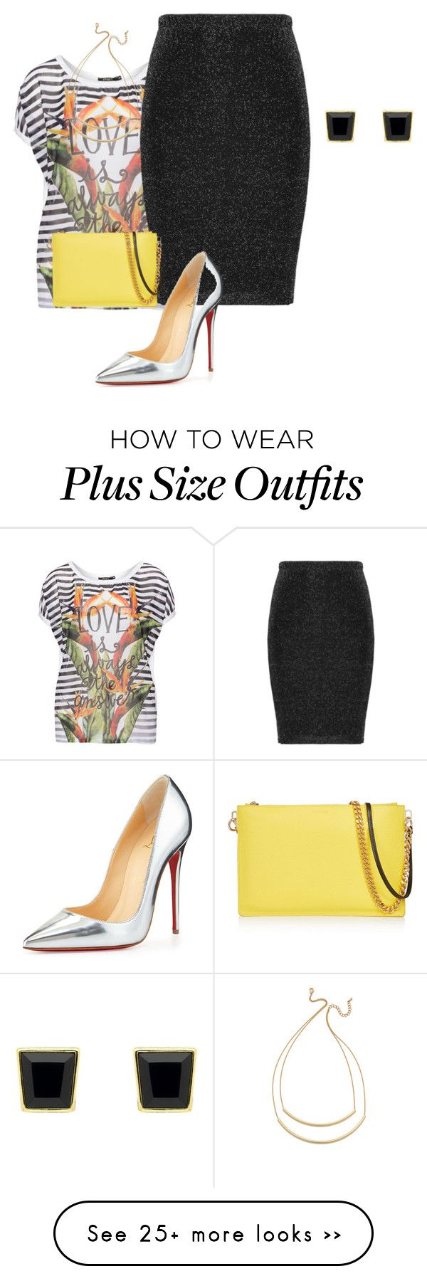 """plus size eclectic night out"" by kristie-payne on Polyvore featuring Mat, Zizzi, Christian Louboutin, Jil Sander, Jules Smith and Monet"