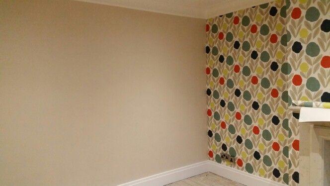 Dulux natural hessian and laura ashley serena wallpaper