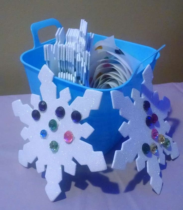 Make your own snowflake activity at a Frozen birthday party!  See more party planning ideas at CatchMyParty.com!