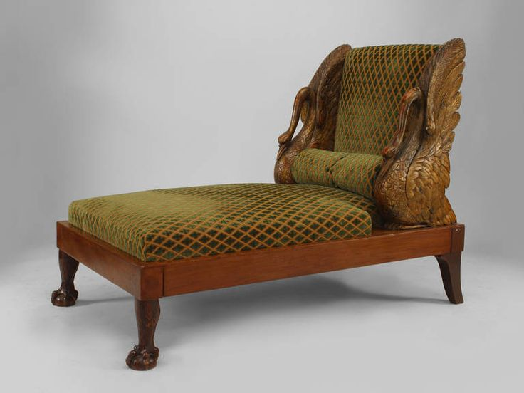 Small Finely Carved Russian Swan Recamier, circa 1810 | From a unique collection of antique and modern day beds at https://www.1stdibs.com/furniture/seating/day-beds/