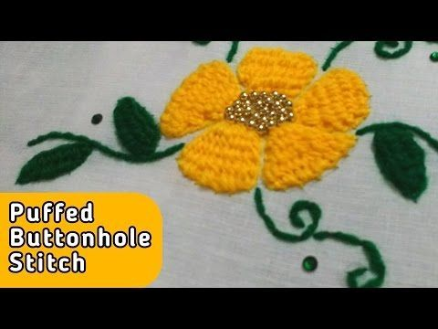 Puffed Buttonhole Flower Hand Embroidery stitch by Ek Indian Ghar - YouTube