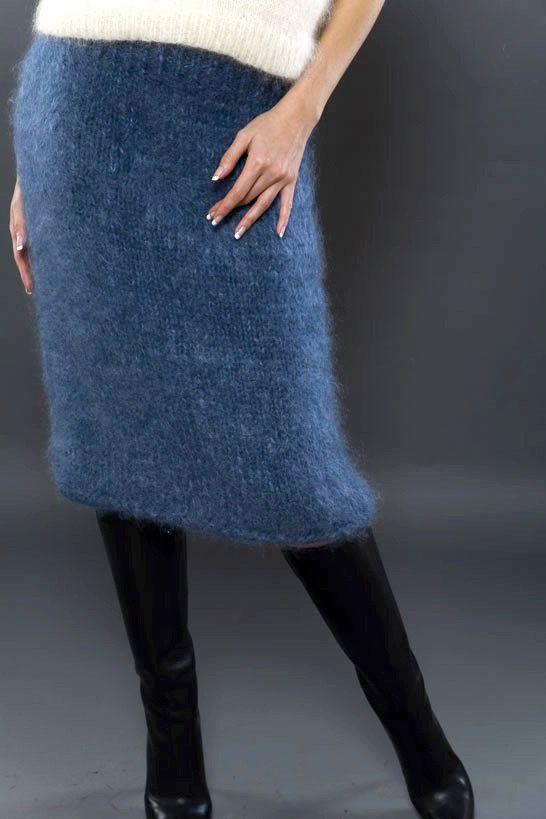 Hand Knitted Dark Blue Mohair/Angora Knee by KateSzMohaircreation