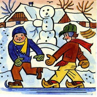 Josef Lada Kresba pro knížku Veselý krok přes celý rok 1929 kolorovaná kresba tuší